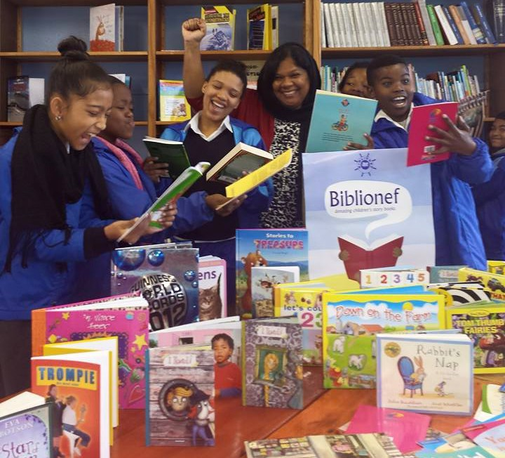 Learner's from Seaview Primary receiving their donation of books
